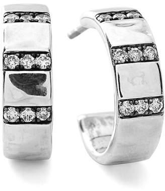Ippolita Sterling Silver Senso Diamond 17mm Huggie Hoop Earrings - 0.36 ctw
