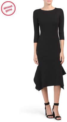 Catherine Malandrino Ribbed Knit Asymmetrical Hem Midi Dress