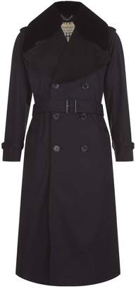 Burberry Fur Collar Trench Coat