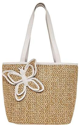 Bueno of California Butterfly Straw Tote
