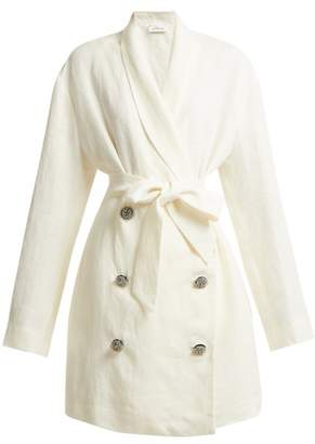 ATTICO Crystal Embellished Button Linen Jacket - Womens - White