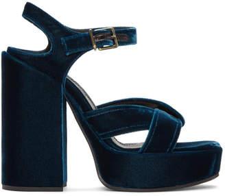 Jil Sander Blue Velvet Helter Sandals