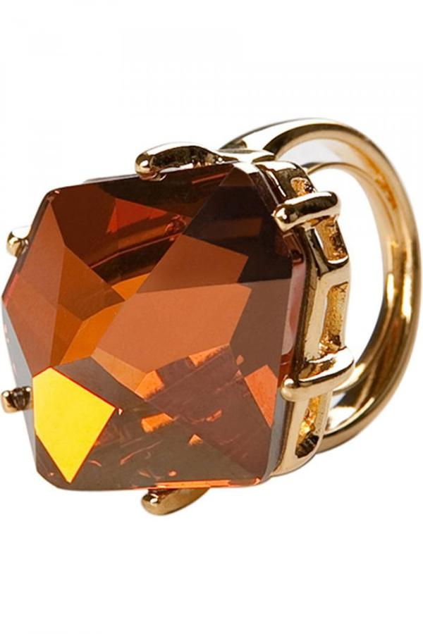Kenneth Jay Lane Golden Ring With Orange Stone