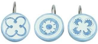 Bacova Guild, LTD Guild Blue Medallion White and Blue Ceramic Set of 12 Shower Curtain Hooks set