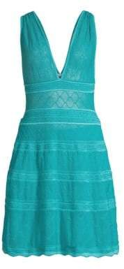 M Missoni Women's V-Neck Knit A-Line Dress - Turquoise - Size 40 (4)