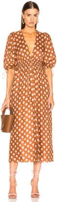 Zimmermann Primrose Shirred Waist Long Dress in Tan Dot | FWRD