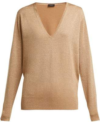 Joseph Metallic Wool Blend Sweater - Womens - Gold