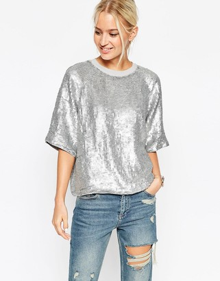 ASOS Glitter Sequin Silver Sweat T-Shirt $89 thestylecure.com