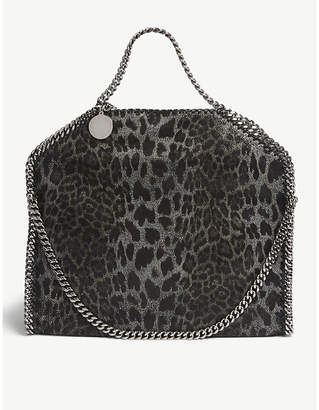At Selfridges Stella Mccartney Black And Brown Falabella Leopard Print Tote Bag