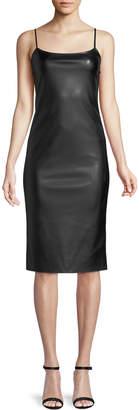 Theory Sleeveless Bedford Faux-Leather Skinny Slip Dress