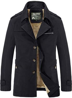 Pishon Men's Cotton Trench Coat Slim Fit Faux Fur Lined Single Breasted Car Coat