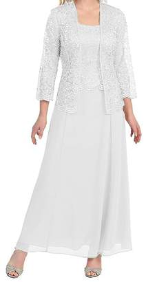 MenaliaDress Long Chiffon Two Piece Set Mother of Groom Dress with Lace Jacket M108LF US