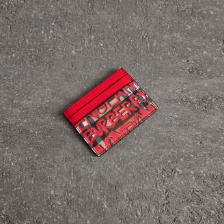 Burberry Graffiti Print Vintage Check Leather Card Case