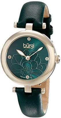 Burgi Women's BUR128GN Diamond Accented Flower Dial Yellow Leather Strap Watch