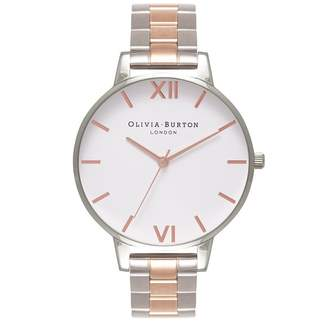 Olivia Burton Big Dial Watch - Silver & Rose Gold Bracelet