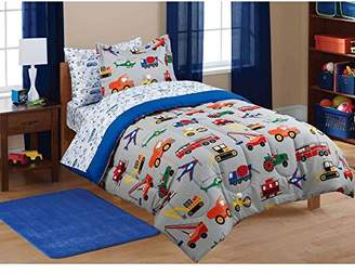 M's MS 5pc Boy Blue Green Red Car Truck Transportation Twin Comforter Set (5pc Bed in a Bag)
