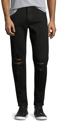 Rag & Bone Standard Issue Fit 1 Slim-Skinny Jeans with Ripped Knees, Black $225 thestylecure.com