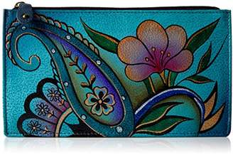 Anuschka Anna by Hand Painted Leather | Organizer Wallet | Denim Paisley