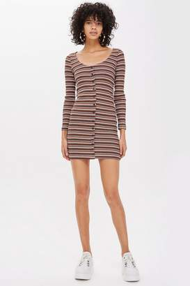 Topshop Long Sleeve Striped Button Mini Dress