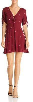 En Creme Ruched Drawstring Embroidered Dress