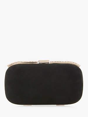 Dune Blingey Suede Embellished Hard Case Clutch Bag, Black