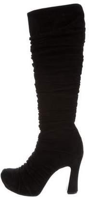 Saint Laurent Suede Ruched Boots