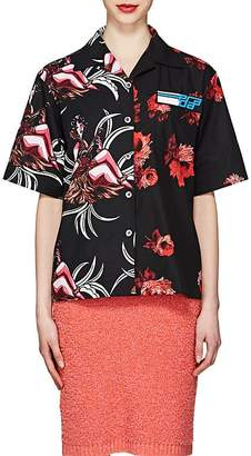 Prada Women's Rose-Print Cotton Poplin Blouse