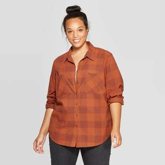 Universal Thread Women's Plus Size Plaid Long Sleeve Collared Flannel Shirt - Universal ThreadTM Rust