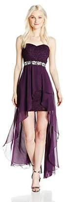 Speechless Junior's Lace with Chiffon High-Low Strapless Party Dress Formal Dance