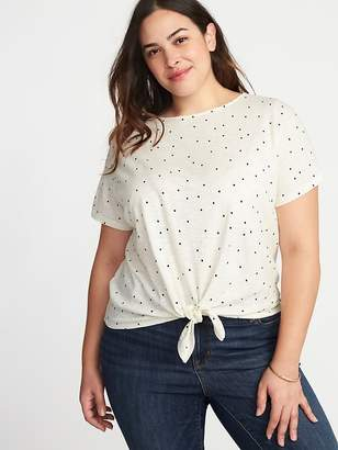 Old Navy Slub-Knit Polka-Dot Plus-Size Tie-Hem Top