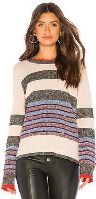 White + Warren Jacquard Striped Crewneck Sweater