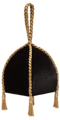 Sanayi 313 - Gemma Braided Handle Velvet Clutch - Womens - Black Gold