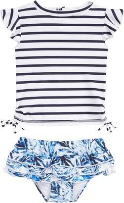 Snapper Rock Ombre Leaf Two-Piece Rashguard Swimsuit