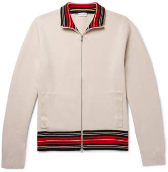 Dries Van Noten Stripe-Trimmed Merino Wool-Blend Zip-Up Cardigan