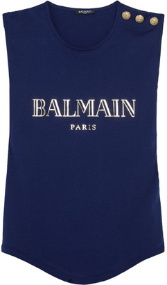 Balmain - Button-embellished Printed Cotton-jersey Top - Blue $250 thestylecure.com
