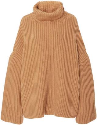 Nanushka Raw Oversized Rib-Knit Turtleneck Top Size: XS