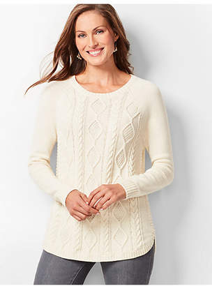 Talbots Cotton Crewneck Cable Sweater