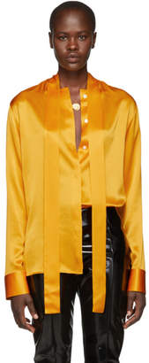 Haider Ackermann Orange Silk Dali Shirt