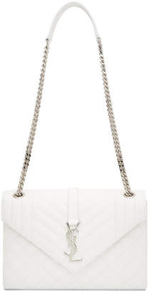 Saint Laurent White Medium Envelope Monogramme Chain Bag