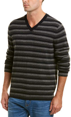 Vince Striped Cashmere V-Neck Sweater