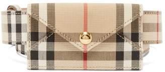 Burberry Checked Gabardine And Leather Cardholder Belt - Womens - Beige Print