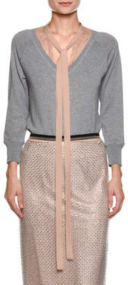 No.21 No. 21 Sweater with Contrast Necktie