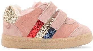 Glittered Leather & Shearling Sneakers