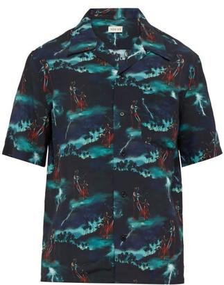 You As - Miles Hawaiian Storm Print Short Sleeved Shirt - Mens - Black Multi