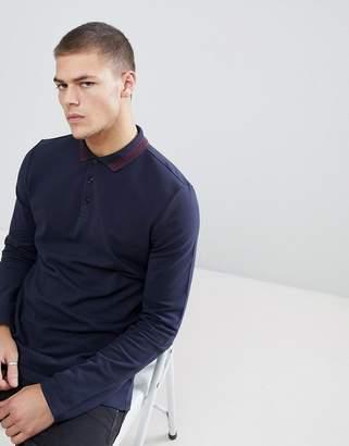 Asos Design DESIGN long sleeve pique polo with tipping in dark blue