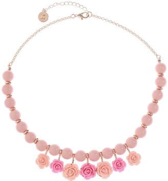 Liz Claiborne Womens Pink Flower Collar Necklace