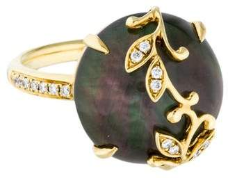 Frederic Sage 18K Colorless Topaz & Mother of Pearl Doublet Cocktail Ring