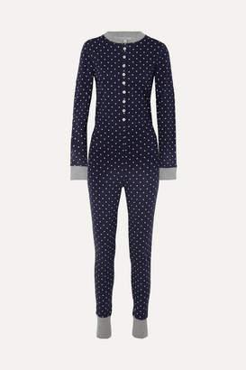 Sleepy Jones - Della Polka-dot Cotton-jersey Pajama Jumpsuit - Navy
