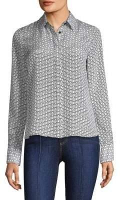 Alice + Olivia Willa Silk Button-Down Shirt