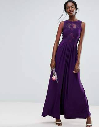 Asos Design Bridesmaid Lace Jersey Pleated Maxi Dress